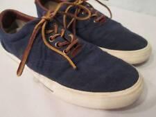 POLO Ralph Lauren VAUGHN Blue Canvas Boat Shoes Leather Suede Trim 10