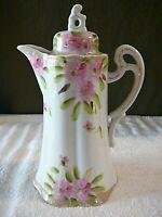 Vintage German Teapot Chocolate Pot Madeleine Pink Blossom Germany, NICE