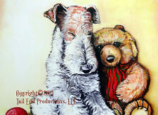 """Wire Fox Terrier """"Nap TIme""""  11x14 Print  by Cherry O'Neill  WFT and Teddy"""