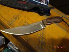 "9"" FIXED BLADE KNIFE WOOD HANDLE CHECKERED 440STAINLESS SATIN FINISH NYLON SHEAT"