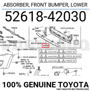 5261842030 Genuine Toyota ABSORBER, FRONT BUMPER, LOWER 52618-42030