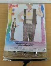 Boys Hippy Costume Hippie 1960s 1970s Fancy Dress Kids Large Age 10-12 TC1-9-19