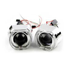 2PCS 2.5'' Bi-xenon Projector HID Lens LED Devil Eyes Red Shrouds w/ Angel Eyes