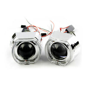 2PCS 2.5'' Bi-xenon Projector HID Lens LED Devil Eyes Red Shrouds w/ Angel Eyes