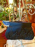 Rare Walborg  Vintage Purse Wedding Evening Prom Handbag Iridescent Navy Beads
