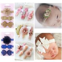 3Pcs Cute Baby Headband Crown Flower Bows Newborn Elastic Baby Hair Band Turban