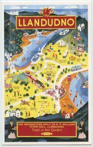 British Railways Map Poster Llandudno Wales Postcard Dalkeith unposted