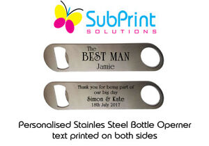 Personalised Steel Bottle Opener Best Man Usher Wedding Favours Thank You Gift