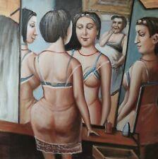 HINTER DER SCHLAFZIMMERTÜR canvas Öl auf Leinwand Gemälde Gr. ca. 33x33 cm
