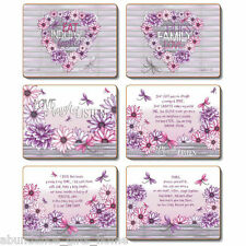 'Dahlia' Lisa Pollock Inspirational Purple Cork Backed Placemats - Set/6 *NEW*