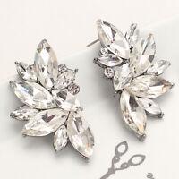Luxus XL Ohrringe Ohrstecker Kristall Facette Strass Braut Hochzeit Klar/Silber