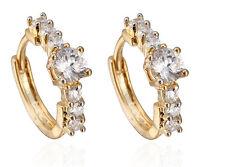 18 k Gold Plated Earrings for Small Girls Women Luxury White Zircons Hoops  E718
