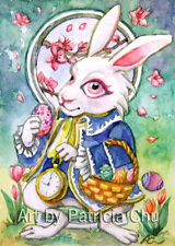 "ACEO LE Art Card Print 2.5""x3.5"" Easter Bunny In Wonderland Art by Patricia"