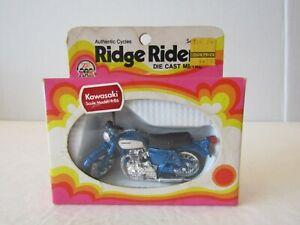 1974 ZEE TOYS RIDGE RIDERS BLUE KAWASAKI DIECAST MOTORCYCLE 1:26 IN BOX