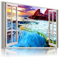 WATERFALL CASCADE 3D Window View Canvas Wall Art Picture Large W283  MATAGA .