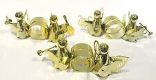 Set of 6 Angels With Instruments Napkin Rings Gold Tone Christmas Table