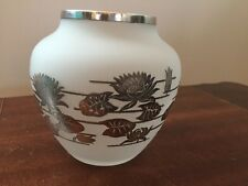 Vintage Art Nouveau Lily Pad Frosted Glass Vase w/ Silver Overlay Beautiful