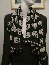 STYLE-X, BLACK, WHITE SKULL PRINT SQUARED SCARF SIZE 35 X 35 INCHES, DISTRESSED-