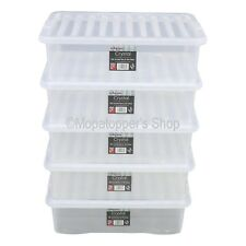 Pack 5 British Made 32 Litre Clear Plastic Underbed Storage Boxes Box With Lids