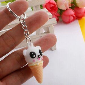 Cute Panda Keychain Keyring Key Ring Ice Cream Cone Keyring Handbag Pendant Gift