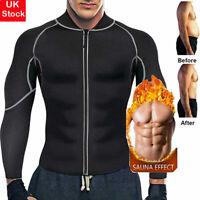 Mens Weight Loss Sauna Suit Sweat Neoprene Body Shaper Fat Burner Long Sleeve US