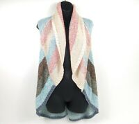 CAbi Women's Sweater Shrug Striped Coral/Blue Vest Shawl Boho Open Cardigan Sz S