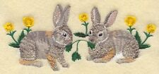 Embroidered Sweatshirt - Cottontail Rabbit Pair M1741