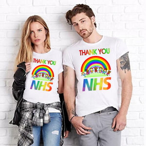 Printing T-shirt Thank You NHS key workers rainbow disign womans mans kids gift