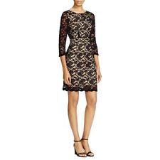 Allen B by Allen Schwartz 7604 Womens Black Lace Lined Cocktail Dress M BHFO