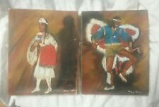 VINTAGE MARY MARTIN OIL PAINTING American Indian Dancing Warrior And Maiden Pair