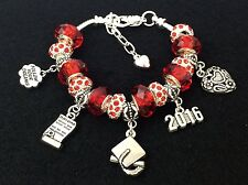 "8""-9"" Silver 2017 Graduation Gift Charm Bracelet, Red Crystal & Rhinestone Beads"