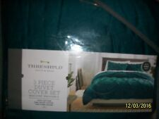 Threshold Pintuck Pinch Pleat Duvet Cover Sham Set ~ NEW- TEAL GREEN - KING SIZE