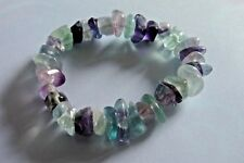 TUMBLED FLOURITE STRETCH BRACELET HEALING INTUITION STONE JEWELRY CAT RESCUE