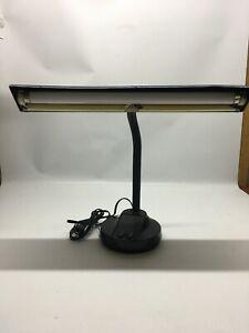 Vintage 18' Desk Lamp Fluorescent Gooseneck Metal Black Adjustable MobiLite