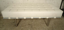 Italian Tufted White Barcelona Style Bench (2023)NS