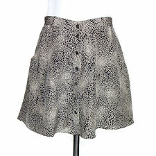484341a35e CLUB MONACO Silk Graphic Line Drawn Maze Gray Black Lined Snap A-Line Skirt  sz