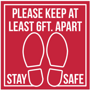 Stay 6ft Apart Floor Decal, Social Distance Floor Decal Pack of 5