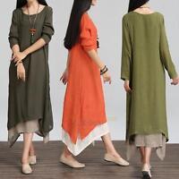 Women Boho Dresses Loose Cotton Linen Summer Beach Shirt Party Long Maxi Dress