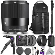 Sigma 30mm f/1.4 for Sony E Mount DC DN Contemporary Lens + Accessories Bundle