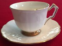 Aynsley Teacup + Saucer Golden Crocus Bone China Made in England Gold Trim