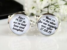Meet Me At The Altar Quote Date &  Time Custom Wedding Cufflinks For Groom Gift