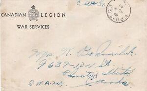 Canada 1942 Military Legion War Services Cvr FPO TC3 / 1 Cvr to Edmonton