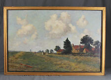 Large 19th Century Oil Painting Landscape near Nottingham by Tom Trythall Rowe