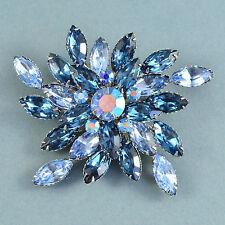 Vintage Brooch Large 1960s Blue Marquise Cut Crystal Silvertone Bridal Jewellery