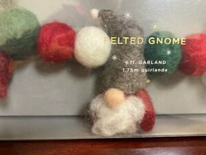 NEW Pottery Barn Cheerful Felted Wool Gnome Christmas Holiday Tree 6 ft. Garland