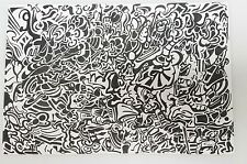 Signed Schneider! Original Pen and Ink Drawing Abstract Black White 12x18