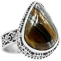 Iron Tiger Eye 925 Sterling Silver Ring Jewelry s7 ITER167