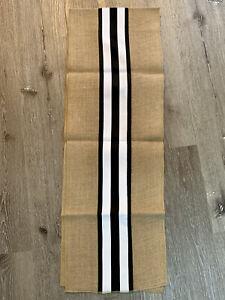 New Burlap Linen Table Runner Rustic Table Runner 12x72 Inch Black White Stripe