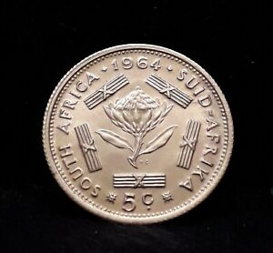 1964 South Africa silver 5 cents, transitional coinage type, KM-59