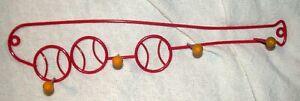 Red Metal BASEBALL BAT Hat Coat Jacket Rack Hooks Wall Bedroom Decor Equip Kids